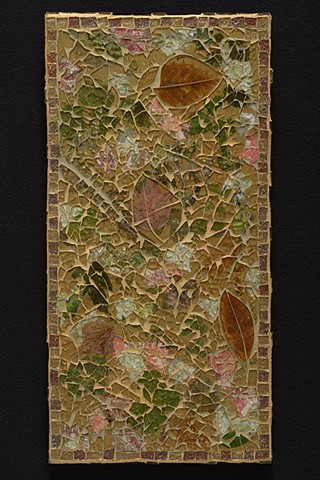 Tempered glass mixed media mosaic