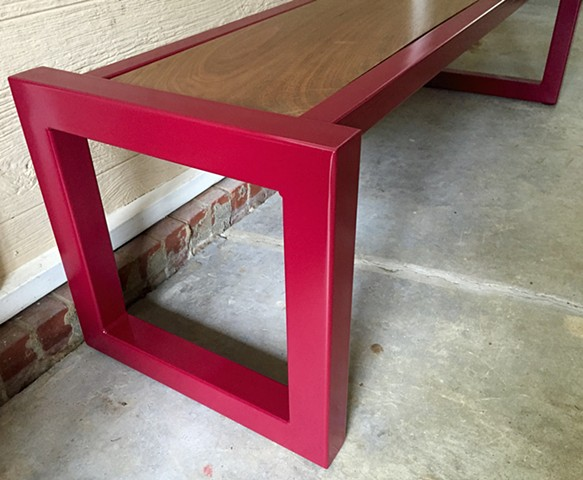 Custom steel and wood furniture. Bench. Fabrication.