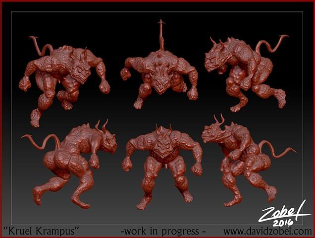 kruel krampus 3d sculpt