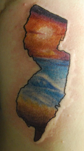 Jersey shore sunset tattoo by dave zobel caspiant tattoo lynchburg virginia