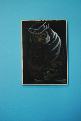 owl on skull