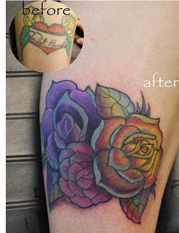 coverup with a rose  by david zobel caspian tattoo  lynchburg va