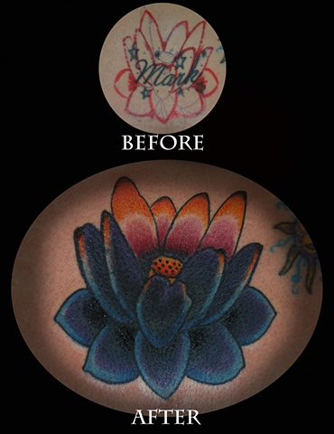 david zobel coverup tattoo with color lotus
