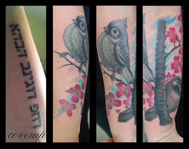 bird coverup caspian tattoo David zobel color animal lynchburg va