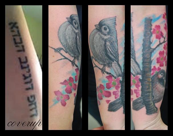 bird coverup caspian tattoo David zobel color animal lynchburg va