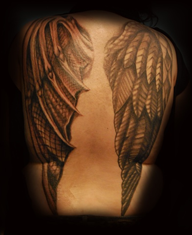 angel devil wings tattoo by dave zobel at 212 tattoo in richmond virginia