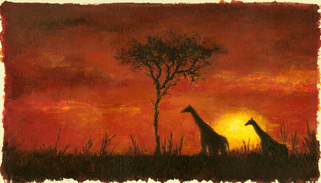 "Africa Rolldrop (14'-0"" x 24'-6"", printed on canvas)  Hand-painted elevation by Luciana Stecconi"