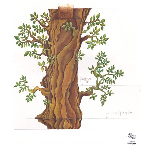 hand-painted tree elevation