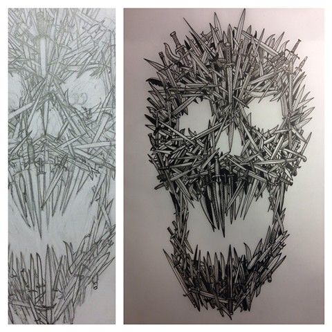 sword skull  sketch and ink on vellum