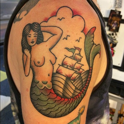 traditional tattoos, mermaid, mermaid tattoo, markus, markus anacki, chameleon tattoo, harvard square, cambridge, tattoo artist, boston, tattoo, i hate markus, cambridge tattoo, boston tattoo, tattoo shop, tattoo shop cambridge, boston tattoo convention,