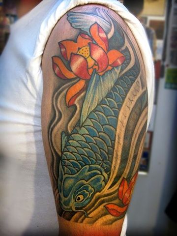 koi fish, koi fish tattoo, koi tattoo, japanese tattoo, markus anacki, kaleidoscope tattoo, cambridge, black and gray, boston, tattoo, markus, cambridge tattoo, boston tattoo, tattoo shop, tattoo shop cambridge, boston tattoo convention,