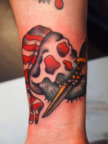 traditional tattoos, skull tattoo, saint tattoo, religious tattoos, black and gray, markus, markus anacki, chameleon tattoo, harvard square, cambridge, tattoo artist, boston, tattoo, i hate markus, cambridge tattoo, boston tattoo, tattoo shop, tattoo shop