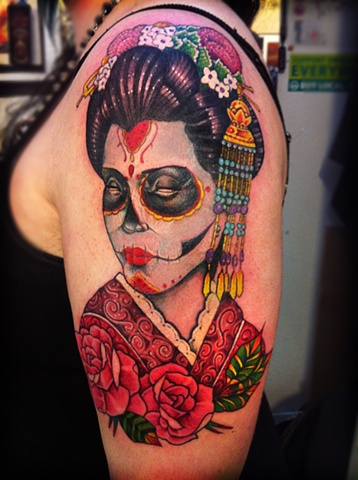 geisha, geisha tattoo, day of the dead tattoo, markus anacki, kaleidoscope tattoo, cambridge, black and gray, boston, tattoo, markus, cambridge tattoo, boston tattoo, tattoo shop, tattoo shop cambridge, boston tattoo convention,