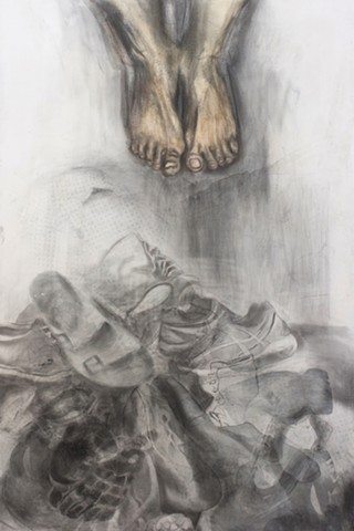 Title: Swollen Feet, sanded screenprint and graphite on panel