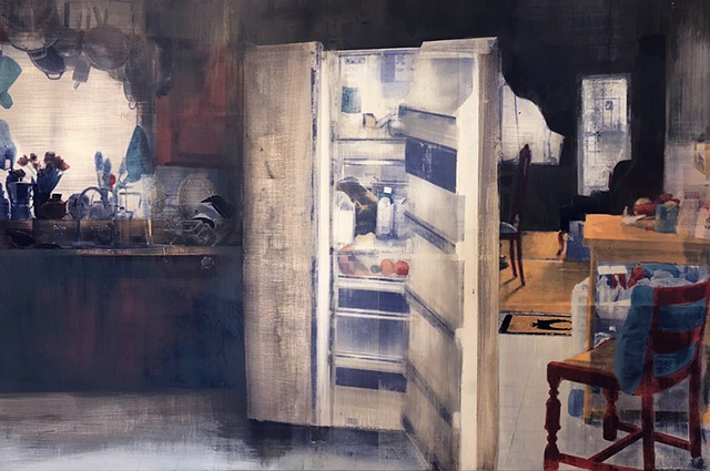 Emily Orzech, Refrigerator: cachexia, sanded screenprint and graphite on panel, 2018