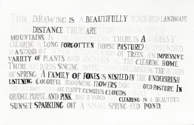 "text pencil drawing ""Landscape II (less pessimistic)"" by artist Joe Hardesty"