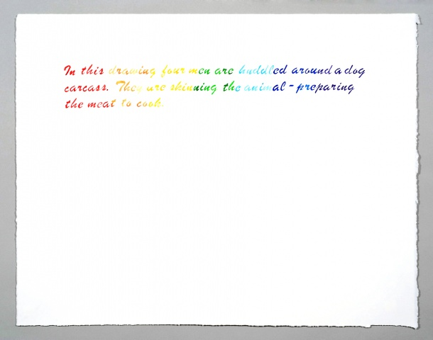 "text watercolor drawing ""Rainbow Dogs"" by artist Joe Hardesty"