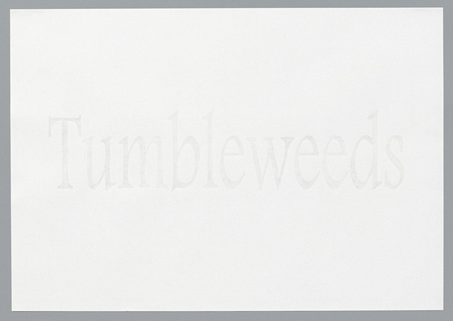 "text pencil drawing ""Tumbleweeds"" by artist Joe Hardesty"