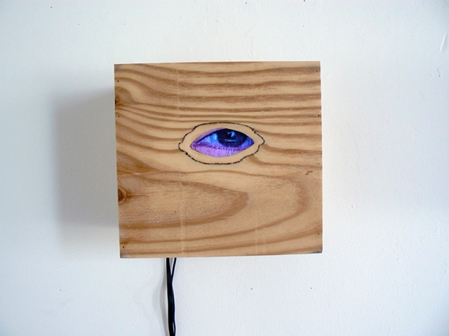 Video of multiple layers of eyes looking at the viewer through plywood box