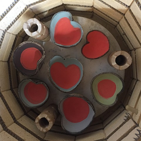 Heart candle holders ready for firing