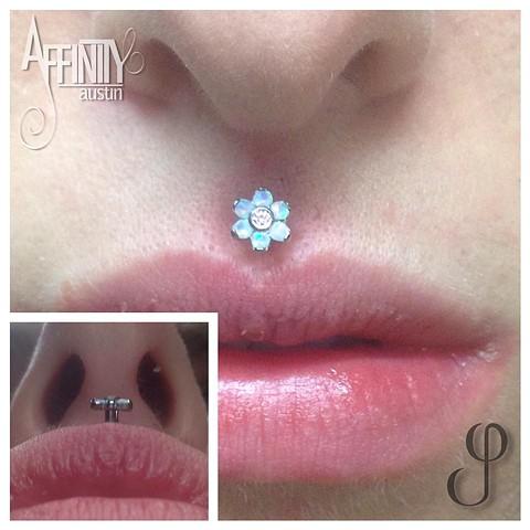 Johnny Pearce Anatometal flower Philtrum piercing