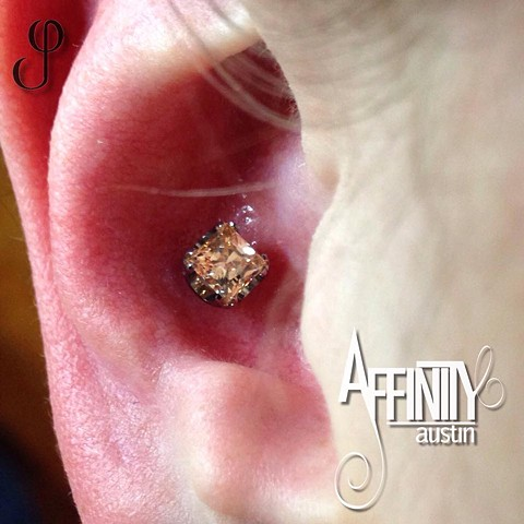 Johnny Pearce Conch Piercing Princess cut champagne Cz Anatometal