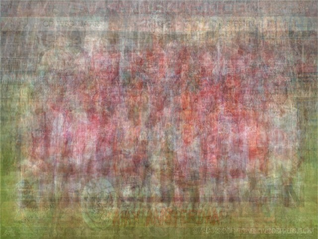UEFA AFC Ajax blurred blurry print soccer football Larkin team photo