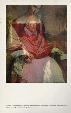 Untitled Portrait of a young lady in a red dress giving Pope Innocent the X absolution as he goes blind,