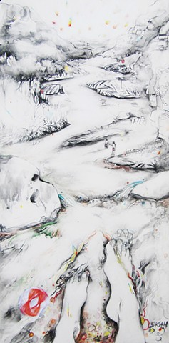 Landscape drawing, contemporary landscape, river drawing, drawing of River, drawing of Rio Grande, Taos landscape drawing