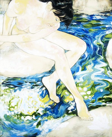 contemporary figure painting, nude female painting, figurative art