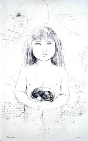children's portraits,contemporary art, figure art, drawings, drawings of children