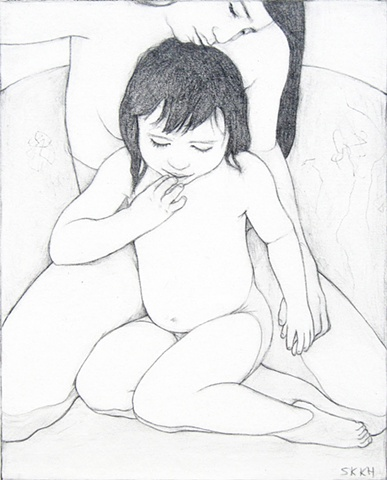 Portrait, figure art, drawings, mother and child portraits, mother and child art