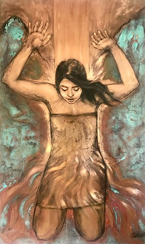 Female figure drawing on copper in Hawaii