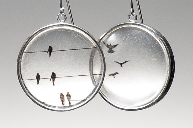 sterling silver resin birds