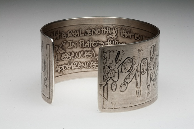 silver bracelet with etching