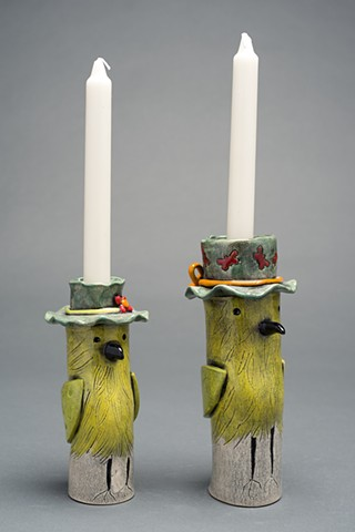 yellow bird candle holders
