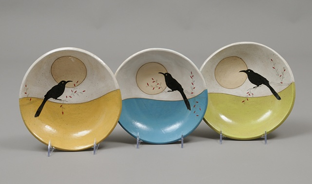 bowls with birds