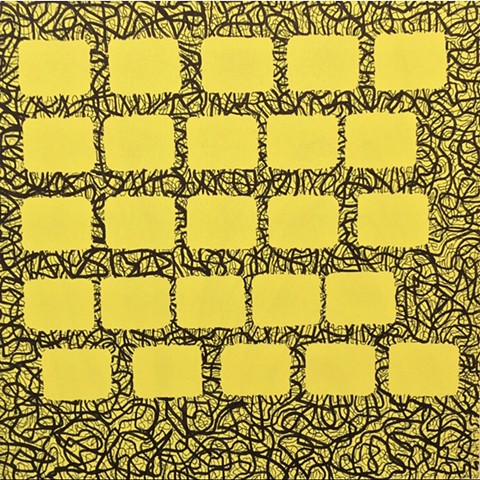 25 Citrus Blocks On Black/Yellow Scribble Field