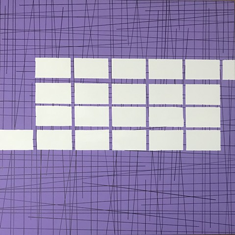 22 White Blocks On Purple Grid