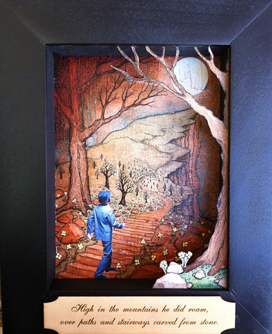 Into the Moonlight is a new narrative series and book by Jeffrey Schweitzer. These beautifully crafted shadow box pieces are a combination of painting, drawing, sculpture and photography.