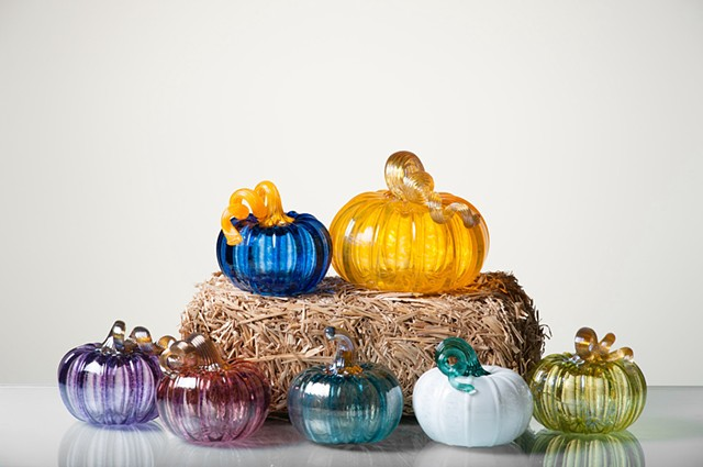 Hand blown Glass pumpkins gourds large small