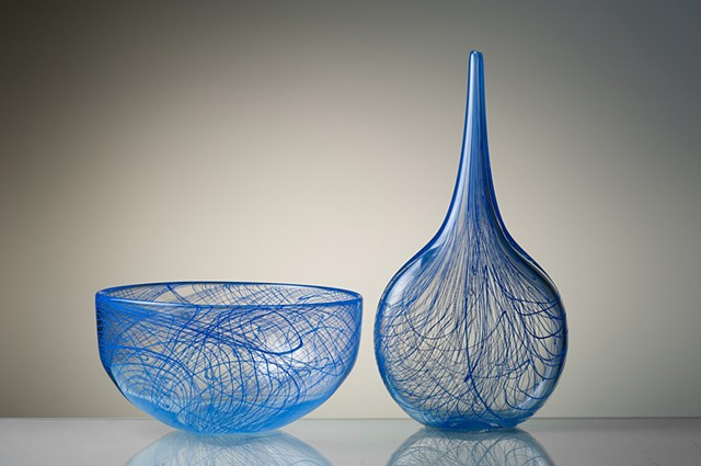 Glass sculpture and bowl