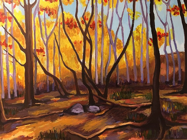 Proctor's Ledge (Fall), Salem, MA, acrylic on canvas, 2016