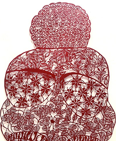 Venus of Wilendorf paper cut, with south Asian folk art patterns