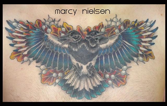 Magpie bird tattoo