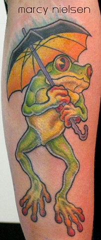 frog umbrella tattoo