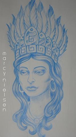aztec woman head dress tattoo
