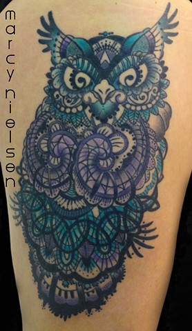 owl tattoo henna