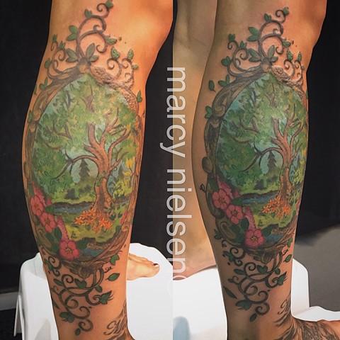 nature leg tattoo