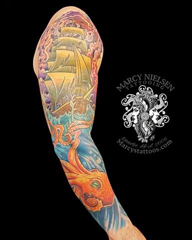 Neotraditional nautical sleeve